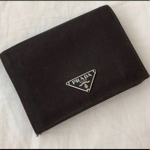 Prada authentic brown nylon compact wallet